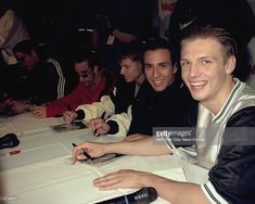 News Photo : The Backstreet Boys sign autographs at party at...