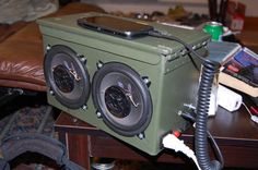 Ammo Can Boom Box build from reddit.com. Could use a bit more on the instruction side, but this is a nice series of photos. Looks like this could be a fun build. Grab a few HALO stencils and make a pretty geeky game -themed BOOM box!