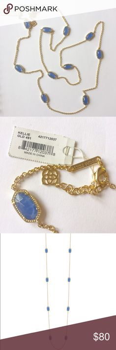 """Kendra Scott 40"""" Kellie Necklace Periwinkle w/Gold The 40"""" necklace Kendra Scott fans love. This has a great Lobster Clasp and the usual filigree backing behind each stone. It makes for a lovely finishing detail. This has never been worn and I have the original KS box and drawstring fabric bag. At 40"""" you can wear it log or wrap it around a second time and add a few more pieces around your neck. I'm selling it because as an ex jewelry buyer (previous career) I've become a bit of a jewelry…"""