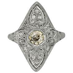 Antique Natural Fancy Yellow Diamond Platinum Ring 1
