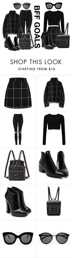 """""""Bff goals school outfit"""" by lorgriff ❤ liked on Polyvore featuring WithChic, Chicwish, Topshop, FOSSIL, Giuseppe Zanotti, The Cambridge Satchel Company, CÉLINE and Yves Saint Laurent"""