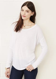 b620b4a96a Bella + Canvas 8852 - Women's Flowy Long Sleeve Tee with Sleeves -  Wholesale and Bulk Pricing Available