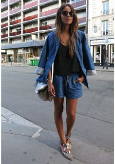 chambray short suit - sincerely jules via theyallhateus