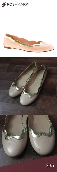 J crew scalloped ballet flats size 7.5 Nude and gold flats. Worn once to an office party. Like new. J. Crew Shoes Flats & Loafers