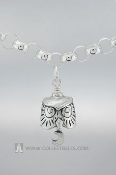 """The Owl Charm is the perfect gift for anyone who collects owls or loves the majesty and mystery of this popular bird. Handcrafted by Texas artisans, this pendant comes with its own polishing cloth and a story card that reads: """"With this bell, you will know that the wisdom and guidance of the great owl will allow you to get through the toughest decisions and daily obstacles. Let this Owl Bell be your guardian in knowing it is forever watching over you."""""""