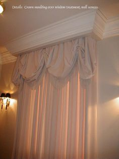 My Design:  Crown moulding incorporated into window treatment valance.