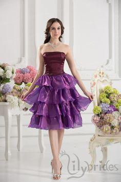 A-line Strapless Satin Organza Knee Length Homecoming Dress