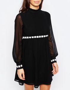 Image 3 ofASOS PETITE Long Sleeve Contrast Trim Soft Babydoll Dress