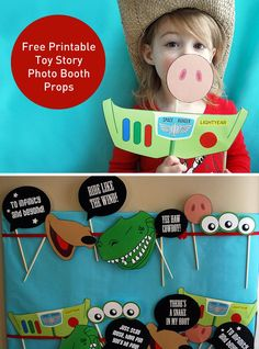 Toy Story Photo Booth Props free printable PDF is part of Toy story birthday - These free printable Toy Story photo booth props will put the Yee Haw! into your Toy Story birthday party! Buzz, Hamm, Aliens, Slinky Dog, Rex and Fête Toy Story, Toy Story Baby, Toy Story Theme, Toy Story Birthday, Boy Birthday, Toy Story Food, Birthday Ideas, Birthday Woman, Toy Story Crafts