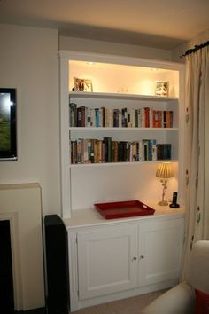 Our bespoke alcove units come with base cabinets and wall shelving. The proper alcove bookcases or alcove floating shelves are designed to fit any space. Alcove Storage Living Room, Living Room Cupboards, Alcove Shelving, Built In Shelves Living Room, Shelving Units, Victorian House Interiors, Victorian Living Room, Alcove Cupboards, Built In Cupboards