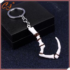 Fashion Hot Game Dota 2 Keychain Pudge's Meat Hook Weapon Model Key chain ring Pendant jewelry Collection Good Gift For Men