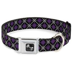 Purple Black Grey White Plaid Checker Pattern Fun Animal Seatbelt Pet Collar *** Click image for more details.