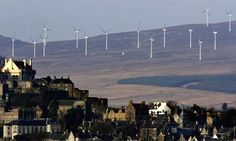 Wind turbines in in Stirling, Scotland. Photograph: Jeff J Mitchell ...