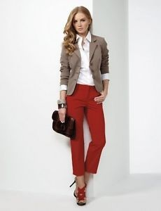 Brown blazer with a white shirt, red skinny jeans & shoes, black clutch