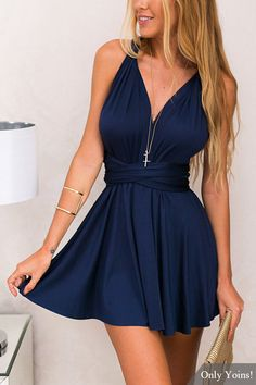 V-neck Multiway Self-tie Mini Dress -YOINS