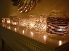Mason Jars covered in Twine/Lace/ Ribbon