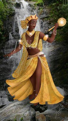 Rituals To Invoke Yoruba Goddess Oshun Black Love Art, Black Girl Art, Black Is Beautiful, Black Girl Magic, African Mythology, African Goddess, Oshun Goddess, Goddess Art, African American Art