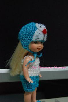 "Barbie Kelly handmade crochet 4"" 1/2 Fancy Dress DoraEmon Japanese cat cartoon"