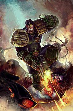 Cracking crossover fan art from Victor Corbella, as Dredd takes down cosmic punk, Lobo!