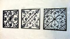 """Wrought iron style wall decor, wall hanging, wrought iron wall art, Set of 3 squares 10""""x10"""" or 12""""x12"""""""