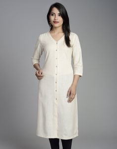 Cotton Khadi FabricLong KurtaFront OpenV Neck3Q SleevesA-lineHand Wash Separately in Cold Water