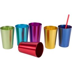 Retro Aluminum Tumblers, 6 cups, 12 oz, By Trademark Innovations, Assorted Colors