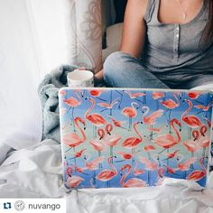 Lovely laptop skin featuring our flamingos pattern!  www.nuvango.com  #Repost @nuvango  Let's lounge & work from home. . . #GelaSkins #Nuvango #NuvangoStyle #flamingo #flamingostyle #Ninola by ninoladesign