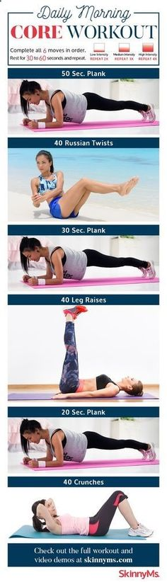 Yoga Fitness Flat Belly This Daily Morning Core Workout might be the best way to get out of bed! #workout skinnyms.com/ #fitness #skinnyms - There are many alternatives to get a flat stomach and among them are various yoga poses.