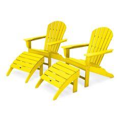 South Beach Plastic Folding Adirondack Chair with Ottoman Color: Lemon Pool Furniture, Best Outdoor Furniture, Outdoor Seating, Outdoor Chairs, Chair And Ottoman Set, Acacia Wood, Beach Chairs, South Beach