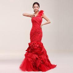 Wang wei wei red fishtail bridal wedding dress #vintageStyle #weddingDress