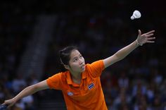 Thailand's Ratchanok Intanon plays against Germany's Juliane Schenk, unseen, at a women's singles badminton match of the 2012 Summer Olympics, Wednesday, Aug. 1, 2012, in London.