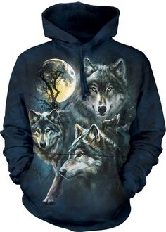 1981d8e97f The Mountain Adult Unisex Hoodie Sweatshirt - Moon Wolves Collage