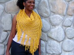 Crochet Triangle Scarf in Yellow Medium by glaccessories on Etsy, $25.00