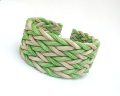 Green and pearl polymer clay cuff