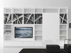 Pari&dispari - comp 318 by Presotto Industrie Mobili, parete attrezzata componibile laccata con porta tv design Pierangelo Sciuto, collezione Pari&dispari Scorrevole