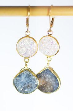 Kalala earrings - druzy gold earrings, grey white drop earring, drusy dangle earring, raw gemstone wedding jewelry bridesmaid earring,hawaii