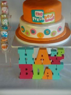 Fresh Beat Birthday cake - without the name substitute bright colored stars or music notes on bottom tier