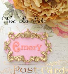 Fondant Princess Name Plaque by vivalacakeshop on Etsy