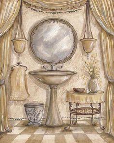 """Charming Bathroom IV"" Fine Art Print by Kate McRostie. Bathroom Posters, Bathroom Artwork, Bathroom Prints, Framed Artwork, Wall Prints, Fine Art Prints, Poster Prints, Fairy Garden Doors, Bath Art"