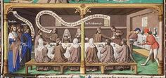 The Rechabites refusing the wine offered by Jehoiakim, king of Juda and Jeremiah  http://manuscripts.kb.nl/iconclass/41A/page/56