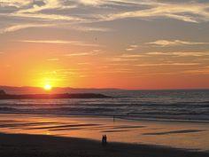 Sunset on Zurriola Beach #SanSebastian Celestial, Explore, Sunset, World, Beach, Outdoor, Santos, Sunsets, The World