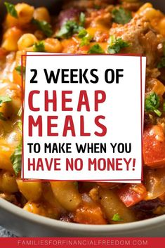 2 Weeks of Cheap Meals to Make When You Have No Money! These are great ideas for quick cheap meals o Cheap Meals To Make, Cheap Family Meals, Inexpensive Meals, Cheap Dinners, Food To Make, Cheap Recipes For Families, Frugal Family, Frugal Meals, Budget Meals