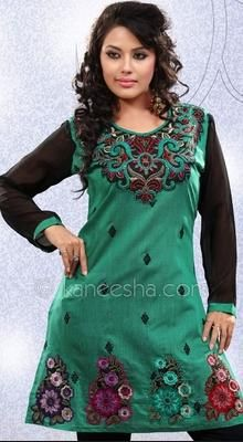 Green High Fashion Kora Silk  Tunic Top With Thread Embellishment