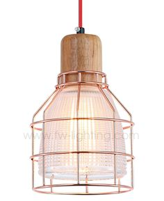 Ineslam ribbed glass pendant light with copper steel wiring frame  MD3158-CLCP