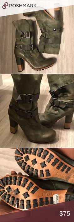 Stylish Vic Matie Boots Leather buckle heel ankle boots in great condition for preowned. Worn once. The color is a greenish grey if that makes any since. They are absolutely stylish 🔥 Vic Matie Shoes Heeled Boots