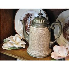 1800s Graniteware Teapot Pewter Antique Enamelware Manning Bowman... (17.585 RUB) ❤ liked on Polyvore featuring home and home decor