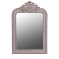 Scaled down slightly, but equally as charming, this mirror has a Louis Philippe inspired feature carving at the top of the frame and fine details that dress the sides of the frame. The taupe frame has been gently distressed to give this piece a lovely antique appeal. This mirror will grace any hallway, bedroom or living room. We think it would look amazing above a mantel in a smaller bedroom.
