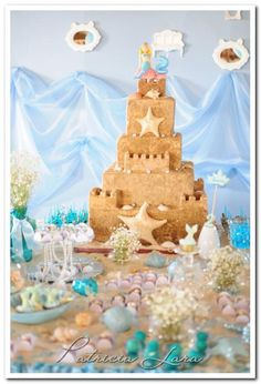 Cake at a Mermaid Under The Sea Party with Lots of Cute Ideas via Kara's Party Ideas | KarasPartyIdeas.com #Ocean #Mermaid #UnderTheSea #Party #Ideas #decorations #cake