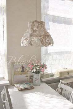 Have just about completed my own doily lampshade. This one is pretty