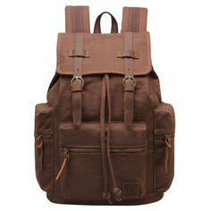 Men s Vintage Designer Canvas Leather Backpacks Schoolbags for Teenagers 18d9e40b4a369